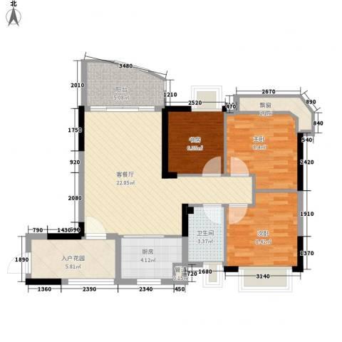 碧桂园椰城3室1厅1卫1厨75.47㎡户型图