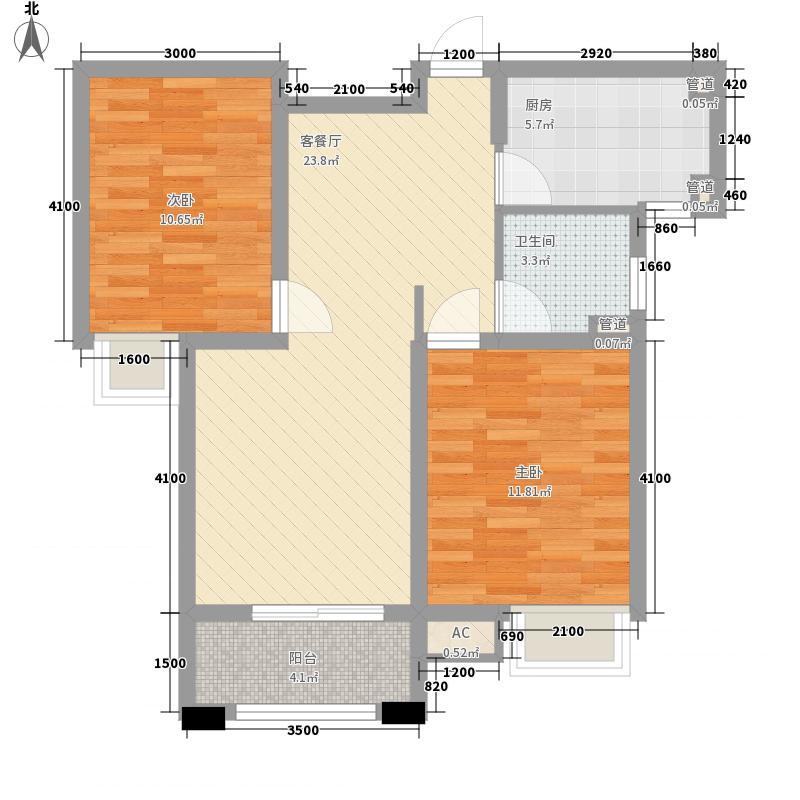 富力桃园82.21㎡D3-2户型2室2厅1卫1厨