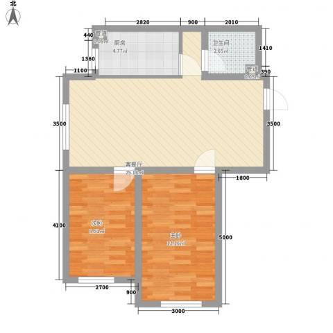 新湖青蓝国际2室1厅1卫1厨81.00㎡户型图