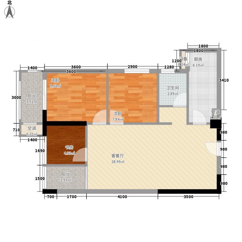 江宇世纪城8.32㎡12#楼一单元06/07户型3室2厅1卫1厨