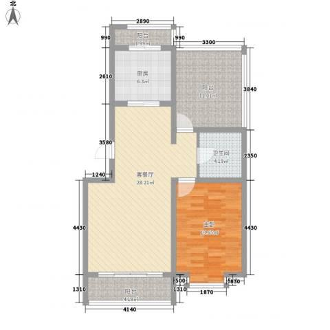 翔宇盛乐新城1室1厅1卫1厨76.00㎡户型图