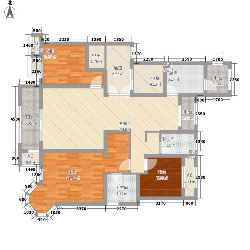 昆河壹号户型图E1户型 3室2厅2卫1厨