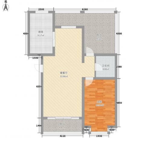 翔宇盛乐新城1室1厅1卫1厨83.37㎡户型图