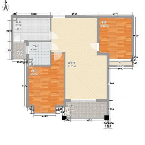 浅水湾城市花园2室1厅1卫1厨91.65㎡户型图