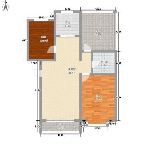 翔宇盛乐新城2室1厅1卫1厨92.00㎡户型图