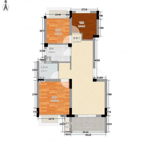 朗诗未来街区3室1厅1卫1厨81.00㎡户型图