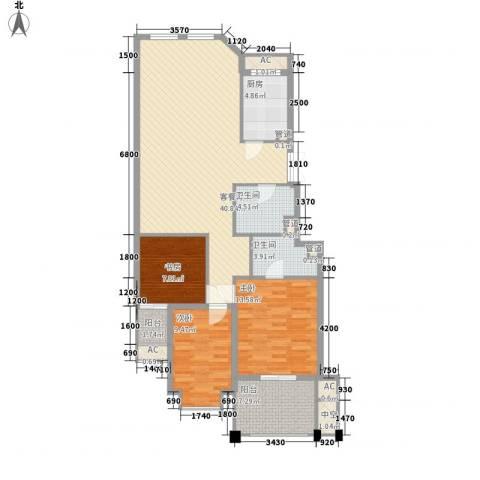 浅水湾城市花园3室1厅2卫1厨110.29㎡户型图