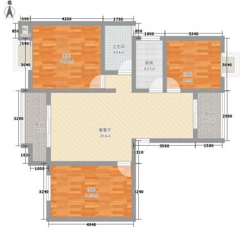 华田亲水湾3室1厅1卫1厨103.00㎡户型图