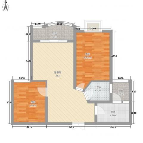 阳光海岸宽寓2室1厅1卫1厨86.00㎡户型图