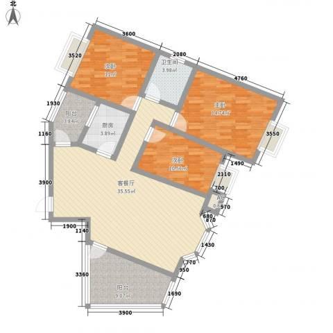 华田亲水湾3室1厅1卫1厨116.00㎡户型图