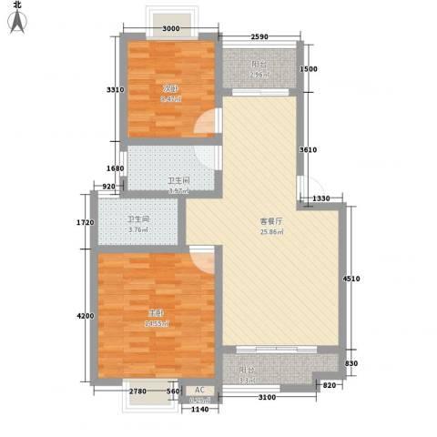 华田亲水湾2室1厅2卫0厨85.00㎡户型图