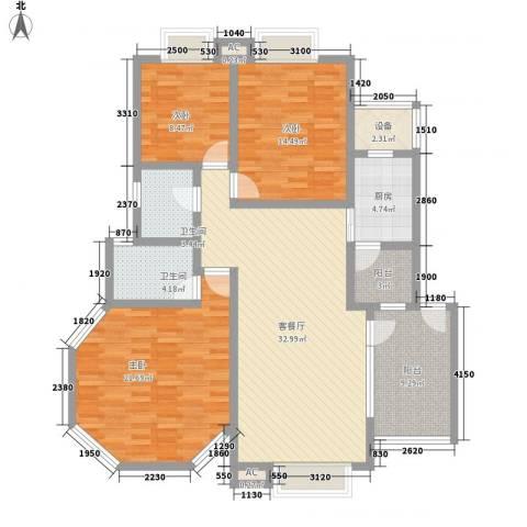 华田亲水湾3室1厅2卫1厨132.00㎡户型图