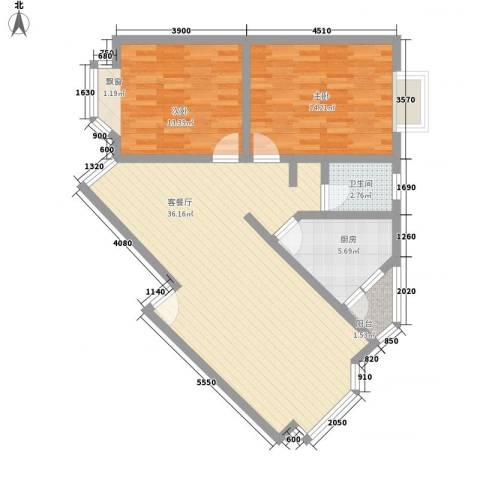 华田亲水湾2室1厅1卫1厨96.00㎡户型图