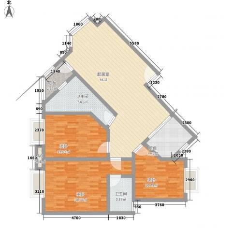 华田亲水湾3室0厅2卫1厨121.00㎡户型图