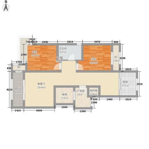 昆河壹号2室1厅1卫1厨94.00㎡户型图
