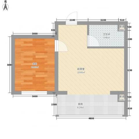 提拉米苏1室0厅1卫0厨39.00㎡户型图
