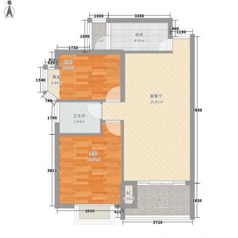 曦城2室1厅1卫1厨87.00㎡户型图