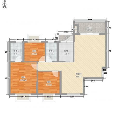曦城3室1厅2卫1厨114.00㎡户型图