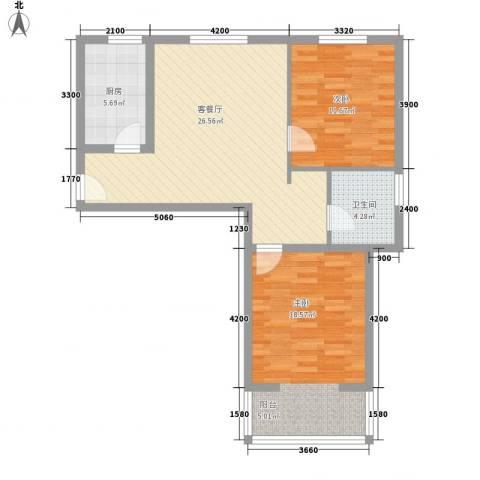 曦城2室1厅1卫1厨96.00㎡户型图