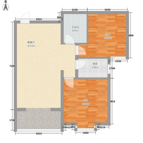 曦城2室1厅1卫1厨92.00㎡户型图
