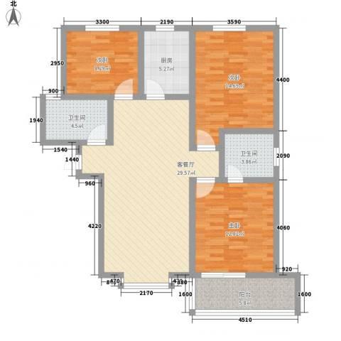 曦城3室1厅2卫1厨117.00㎡户型图