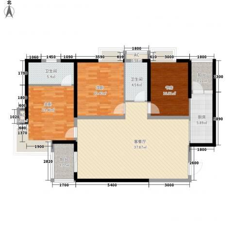 大兴新悦城3室1厅2卫1厨141.00㎡户型图