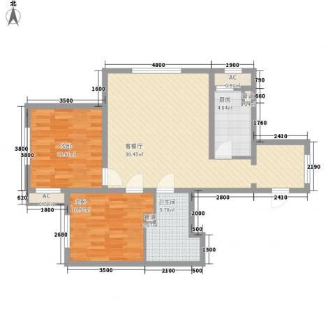 新湖青蓝国际2室1厅1卫1厨86.00㎡户型图