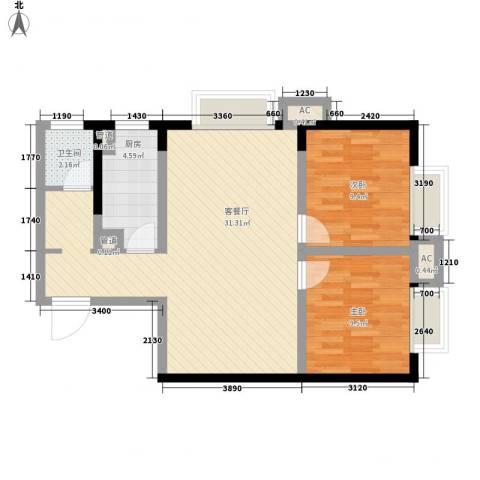 大兴新悦城2室1厅1卫1厨83.00㎡户型图