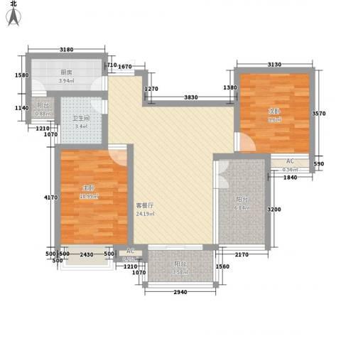 随园锦湖公寓2室1厅1卫1厨98.00㎡户型图