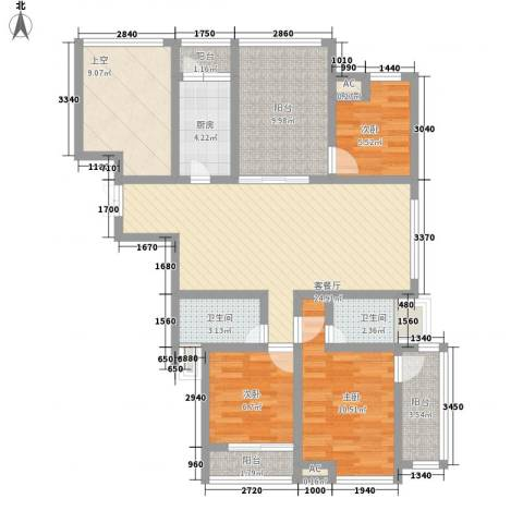 随园锦湖公寓3室1厅2卫1厨127.00㎡户型图