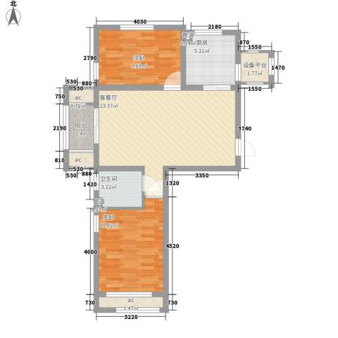 龙湖滟澜山2室1厅1卫1厨89.00㎡户型图