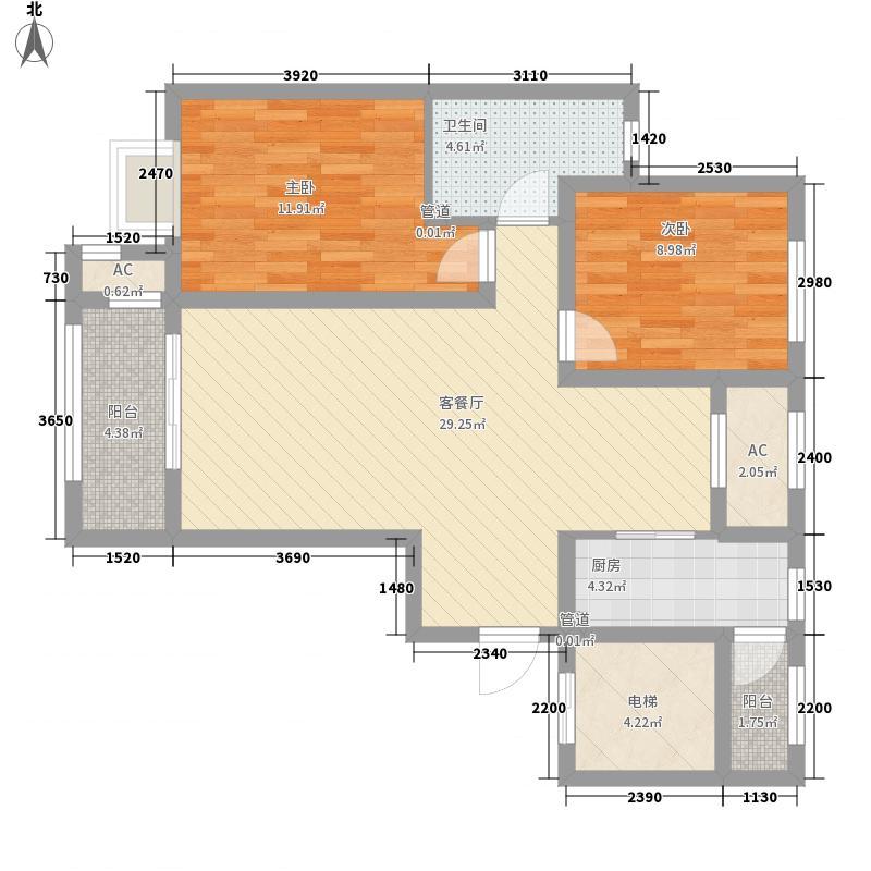 昆河壹号户型图B3户型 2室2厅1卫1厨