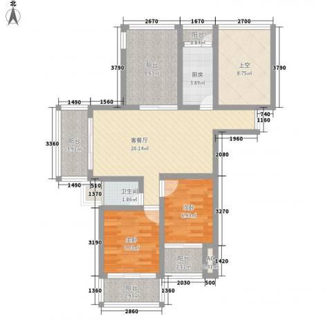 随园锦湖公寓2室1厅1卫1厨105.00㎡户型图