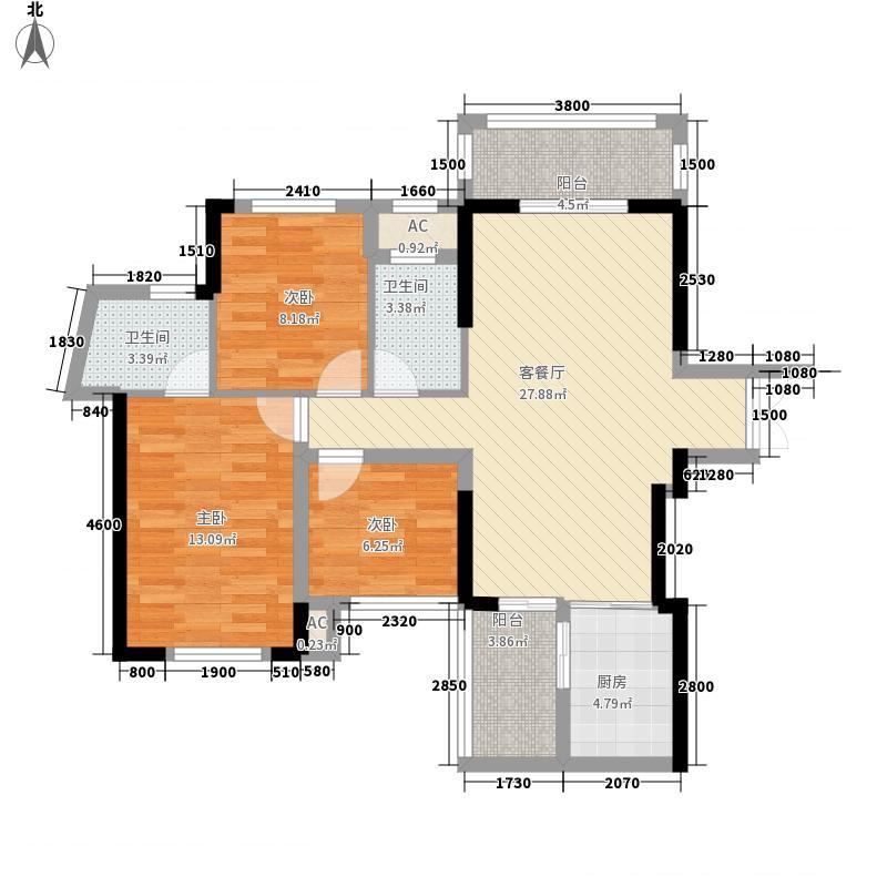 中旭中央城A1单元05号房2单元03号房户型2室2厅2卫1厨