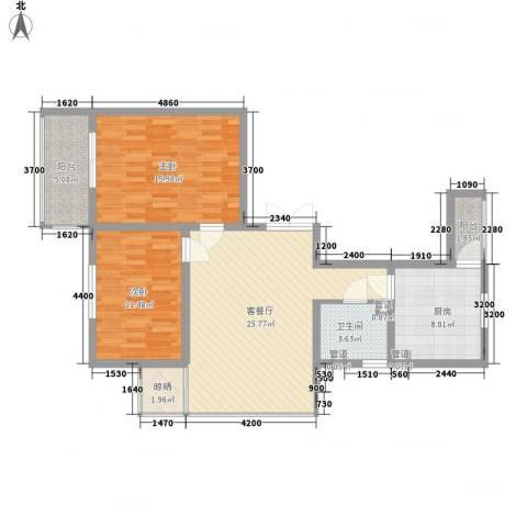 提拉米苏2室1厅1卫1厨73.96㎡户型图