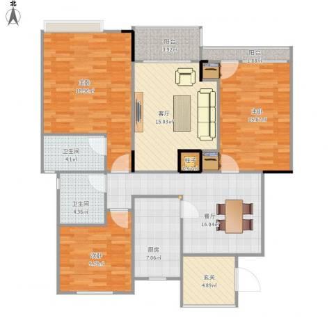 阳光绿城3室2厅2卫1厨140.00㎡户型图