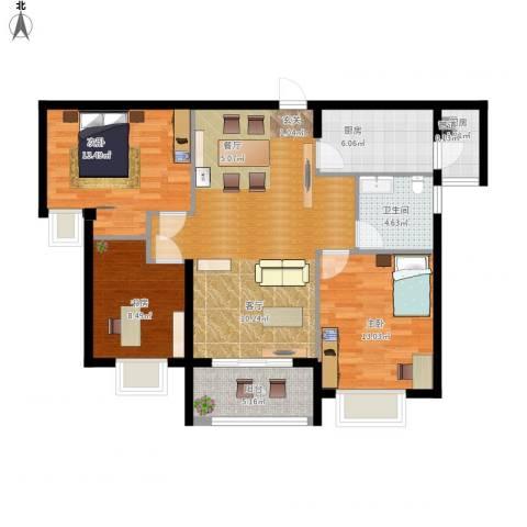 瑜翠园3室1厅1卫2厨116.00㎡户型图