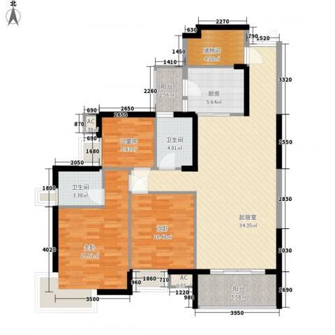 湖滨壹号3室0厅2卫1厨131.00㎡户型图