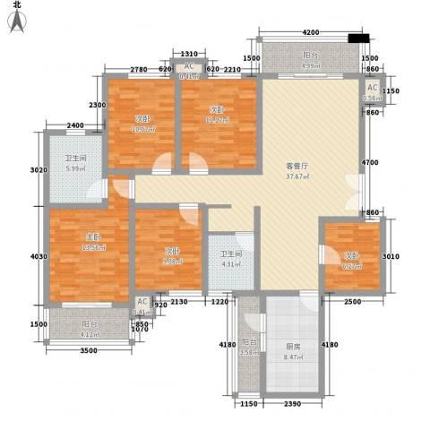 高正豪景花园5室1厅2卫1厨164.00㎡户型图