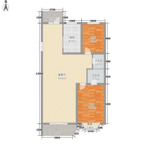中街北苑2室1厅2卫1厨135.00㎡户型图