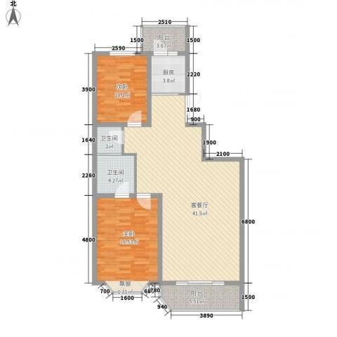 中街北苑2室1厅2卫1厨114.00㎡户型图