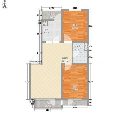 佰世・品德2室1厅1卫1厨76.00㎡户型图