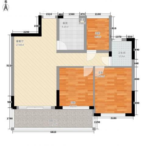 宝兴花园3室1厅1卫1厨87.00㎡户型图