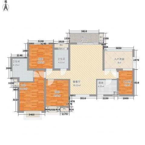 滨湖世纪城徽杰苑3室1厅2卫1厨120.00㎡户型图