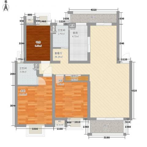 金易星辰3室1厅2卫1厨113.00㎡户型图