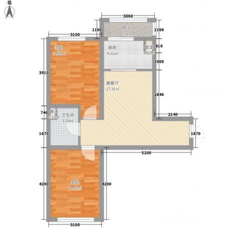 怡景名苑2室1厅1卫1厨66.00㎡户型图