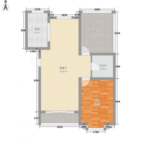 翔宇盛乐新城1室1厅1卫1厨78.00㎡户型图