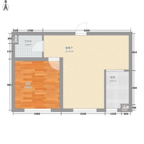怡景名苑1室1厅1卫1厨56.00㎡户型图