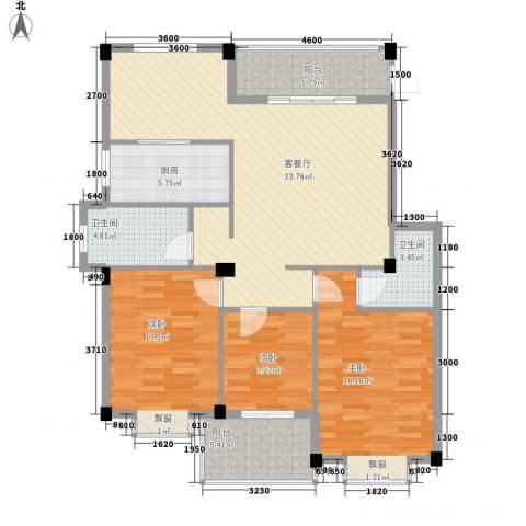 盛祥现代城3室1厅2卫1厨115.00㎡户型图