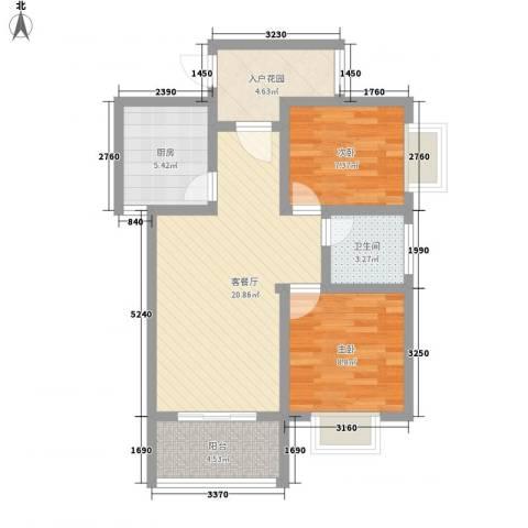 时代SOHO2室1厅1卫1厨76.00㎡户型图